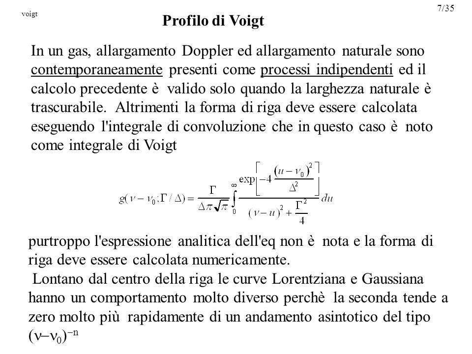 Profilo di Voigt In un gas, allargamento Doppler ed allargamento naturale sono contemporaneamente presenti come processi indipendenti ed il calcolo precedente è valido solo quando la larghezza naturale è trascurabile.