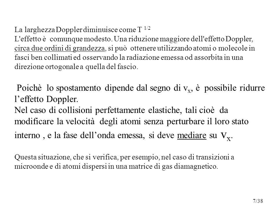 La larghezza Doppler diminuisce come T 1/2 L effetto è comunque modesto.