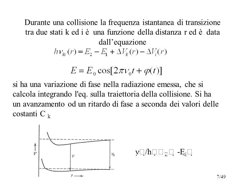 Durante una collisione la frequenza istantanea di transizione tra due stati k ed i è una funzione della distanza r ed è data dall'equazione si ha una variazione di fase nella radiazione emessa, che si calcola integrando l eq.