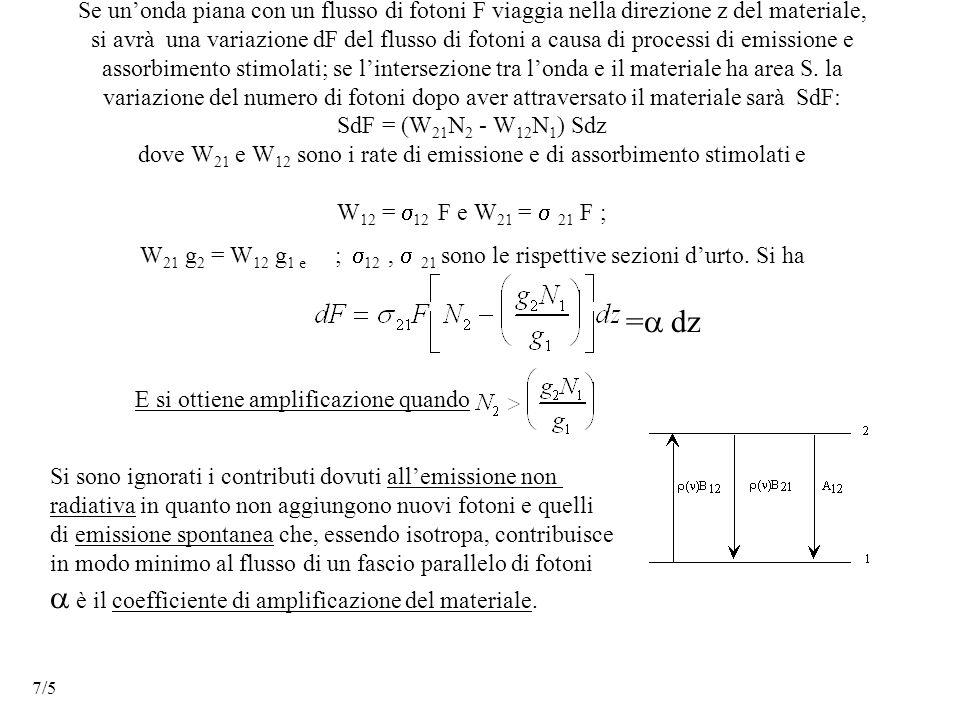 Se un'onda piana con un flusso di fotoni F viaggia nella direzione z del materiale, si avrà una variazione dF del flusso di fotoni a causa di processi di emissione e assorbimento stimolati; se l'intersezione tra l'onda e il materiale ha area S.