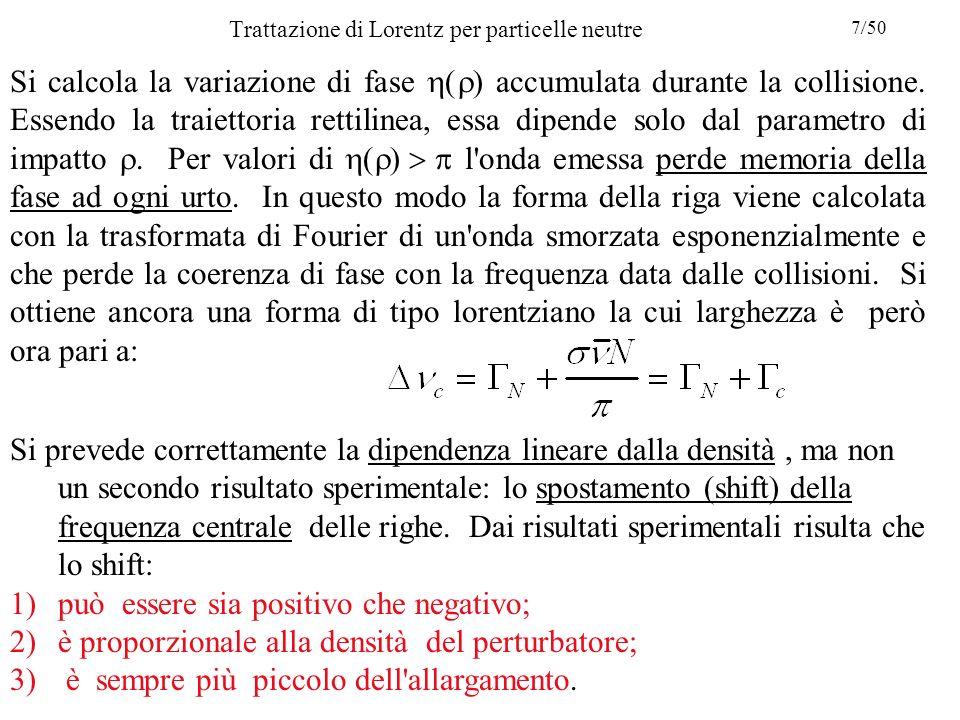 Trattazione di Lorentz per particelle neutre Si calcola la variazione di fase  accumulata durante la collisione.