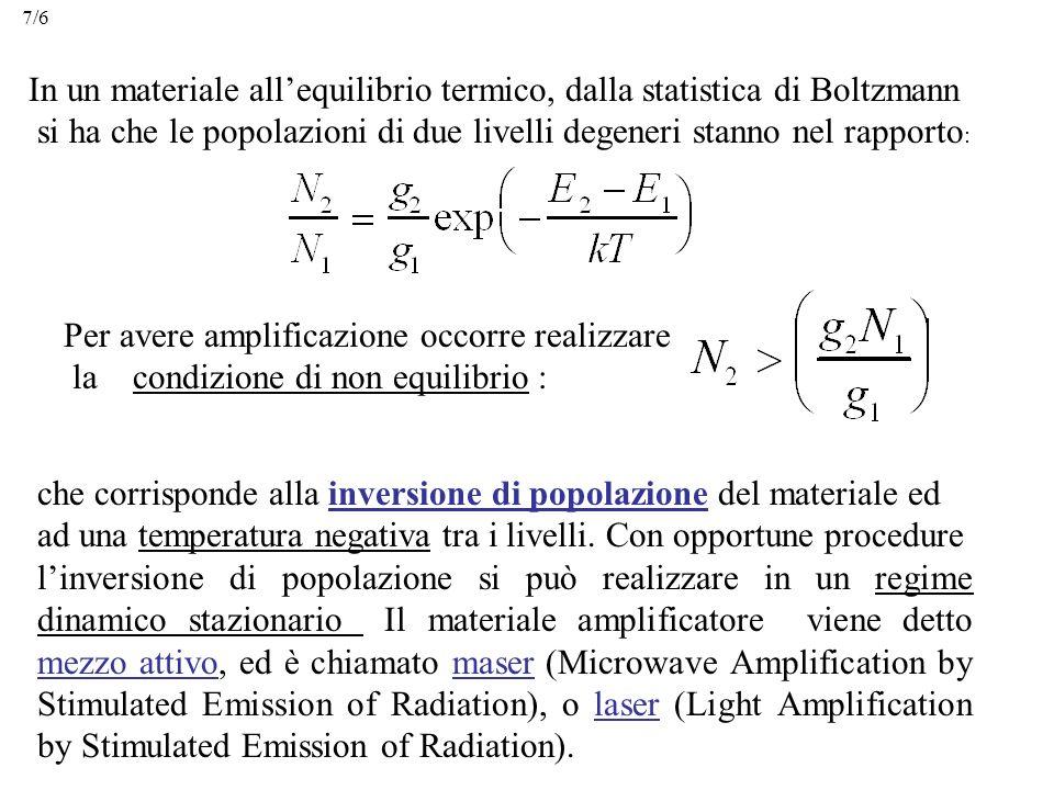 In un materiale all'equilibrio termico, dalla statistica di Boltzmann si ha che le popolazioni di due livelli degeneri stanno nel rapporto : Per avere amplificazione occorre realizzare la condizione di non equilibrio : che corrisponde alla inversione di popolazione del materiale ed ad una temperatura negativa tra i livelli.