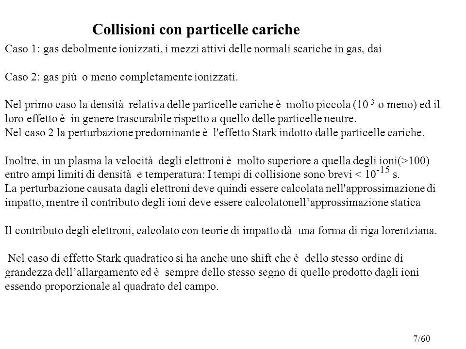 Collisioni con particelle cariche Caso 1: gas debolmente ionizzati, i mezzi attivi delle normali scariche in gas, dai Caso 2: gas più o meno completamente ionizzati.