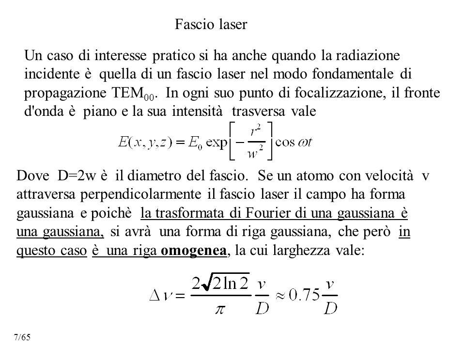 Un caso di interesse pratico si ha anche quando la radiazione incidente è quella di un fascio laser nel modo fondamentale di propagazione TEM 00.