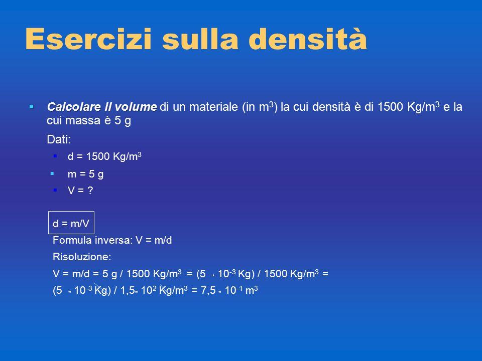 Esercizi sulla densità  Calcolare la massa  Calcolare la massa di un materiale (in g) la cui densità è di 1500 Kg/m 3 e il cui volume è 30 cm 3 Dati
