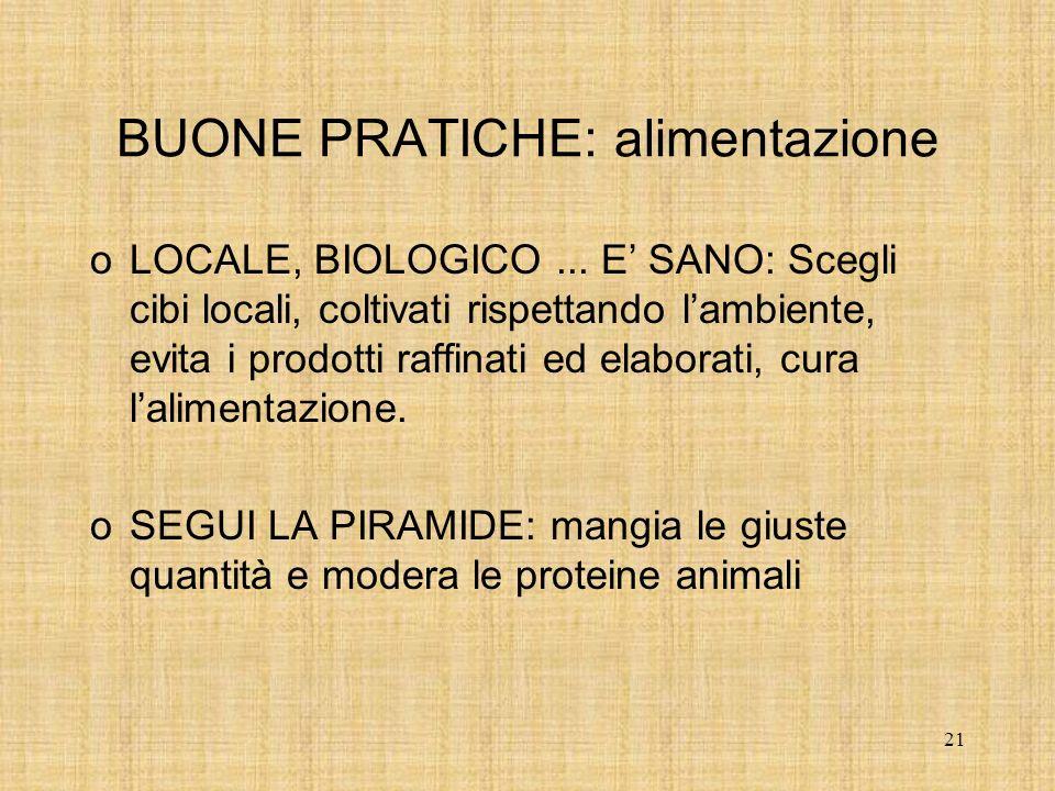 21 BUONE PRATICHE: alimentazione oLOCALE, BIOLOGICO...