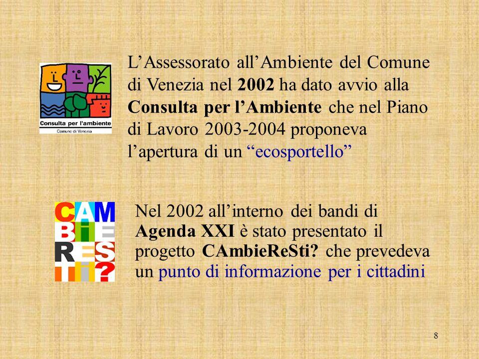 8 Nel 2002 all'interno dei bandi di Agenda XXI è stato presentato il progetto CAmbieReSti.