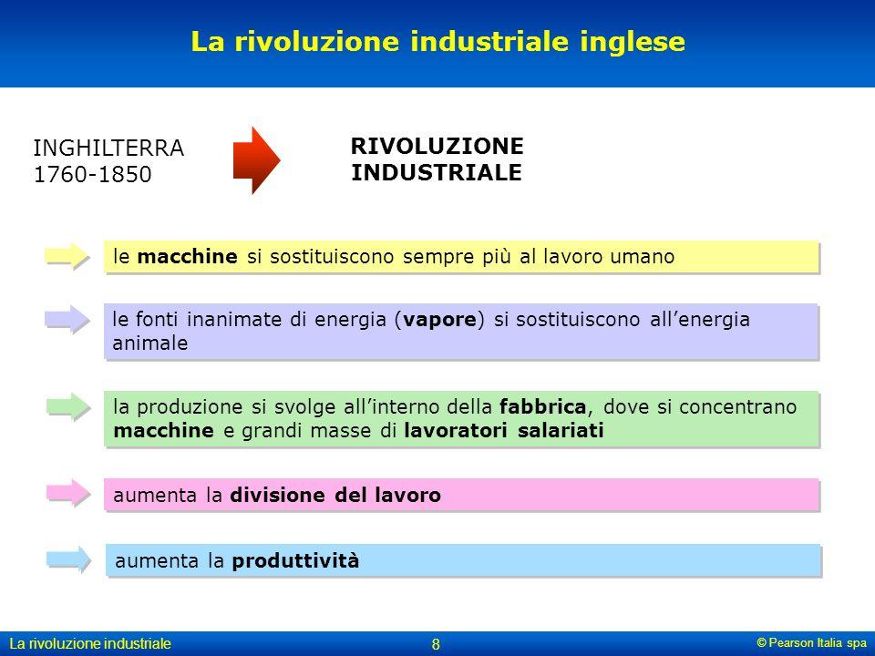 © Pearson Italia spa La rivoluzione industriale 8 La rivoluzione industriale inglese INGHILTERRA 1760-1850 RIVOLUZIONE INDUSTRIALE le macchine si sostituiscono sempre più al lavoro umano aumenta la divisione del lavoro le fonti inanimate di energia (vapore) si sostituiscono all'energia animale la produzione si svolge all'interno della fabbrica, dove si concentrano macchine e grandi masse di lavoratori salariati aumenta la produttività