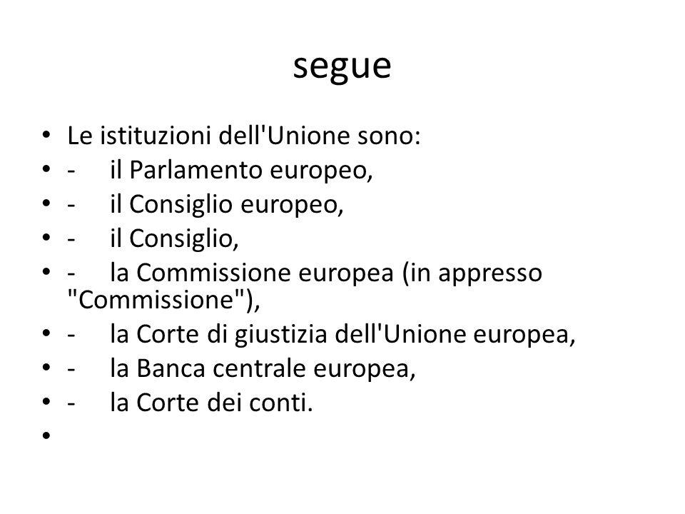 segue Le istituzioni dell'Unione sono: -il Parlamento europeo, -il Consiglio europeo, -il Consiglio, -la Commissione europea (in appresso