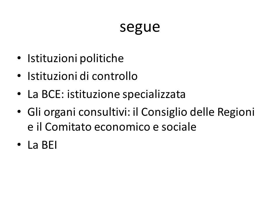 segue Istituzioni politiche Istituzioni di controllo La BCE: istituzione specializzata Gli organi consultivi: il Consiglio delle Regioni e il Comitato