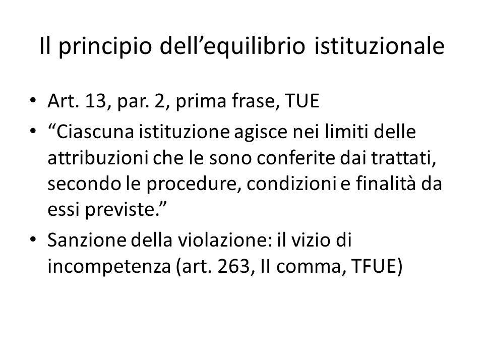 """Il principio dell'equilibrio istituzionale Art. 13, par. 2, prima frase, TUE """"Ciascuna istituzione agisce nei limiti delle attribuzioni che le sono co"""