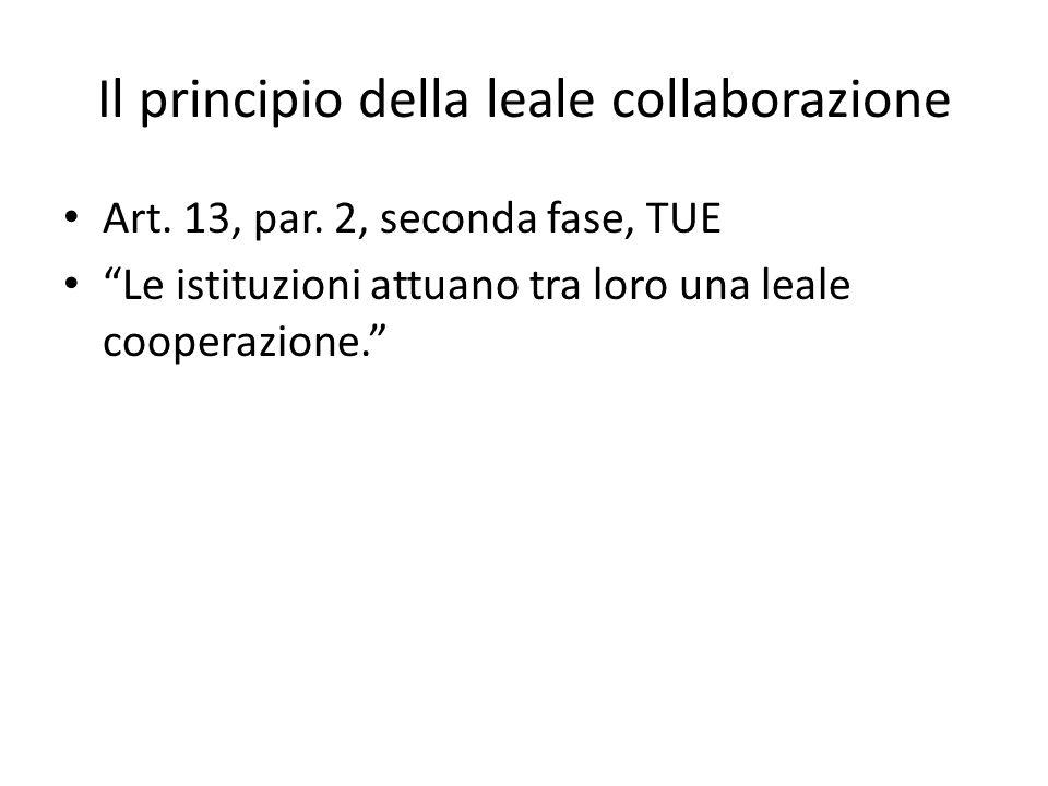 """Il principio della leale collaborazione Art. 13, par. 2, seconda fase, TUE """"Le istituzioni attuano tra loro una leale cooperazione."""""""