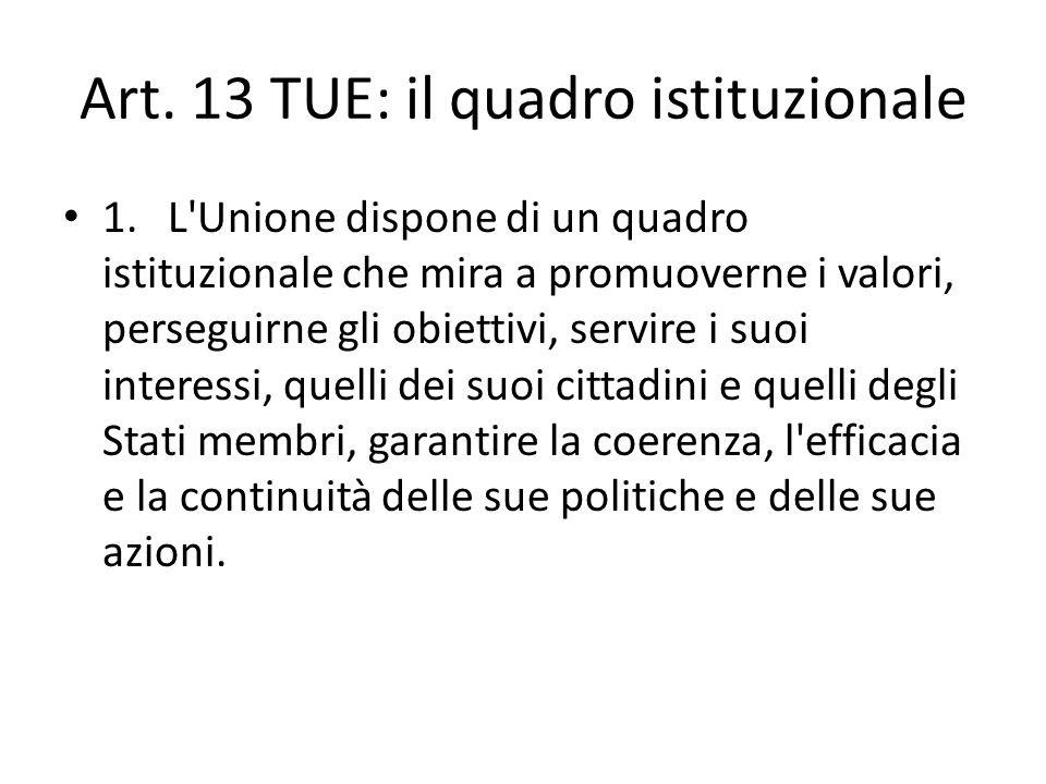 Art. 13 TUE: il quadro istituzionale 1.L'Unione dispone di un quadro istituzionale che mira a promuoverne i valori, perseguirne gli obiettivi, servire