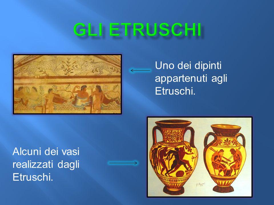 Uno dei dipinti appartenuti agli Etruschi. Alcuni dei vasi realizzati dagli Etruschi.