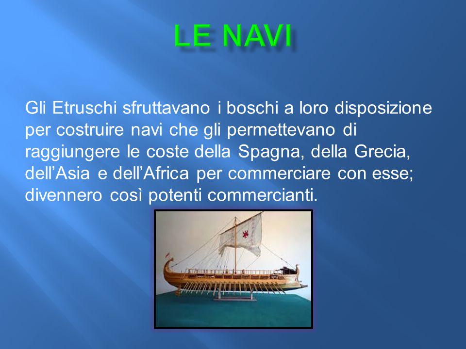 Gli Etruschi sfruttavano i boschi a loro disposizione per costruire navi che gli permettevano di raggiungere le coste della Spagna, della Grecia, dell'Asia e dell'Africa per commerciare con esse; divennero così potenti commercianti.