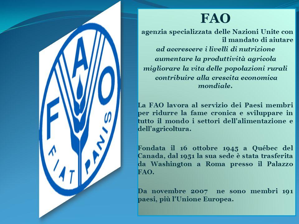 FAO agenzia specializzata delle Nazioni Unite con il mandato di aiutare ad accrescere i livelli di nutrizione aumentare la produttività agricola migliorare la vita delle popolazioni rurali contribuire alla crescita economica mondiale.