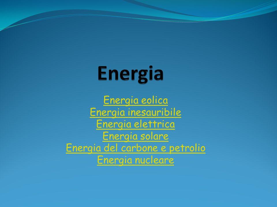 Energia eolica Energia inesauribile Energia elettrica Energia solare Energia del carbone e petrolio Energia nucleare