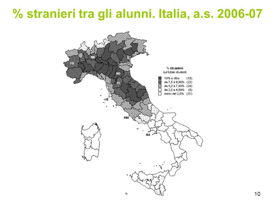 10 % stranieri tra gli alunni. Italia, a.s. 2006-07