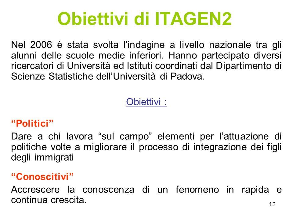 12 Obiettivi di ITAGEN2 Nel 2006 è stata svolta l'indagine a livello nazionale tra gli alunni delle scuole medie inferiori.
