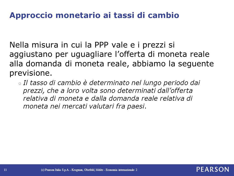 Approccio monetario ai tassi di cambio Nella misura in cui la PPP vale e i prezzi si aggiustano per uguagliare l'offerta di moneta reale alla domanda di moneta reale, abbiamo la seguente previsione.