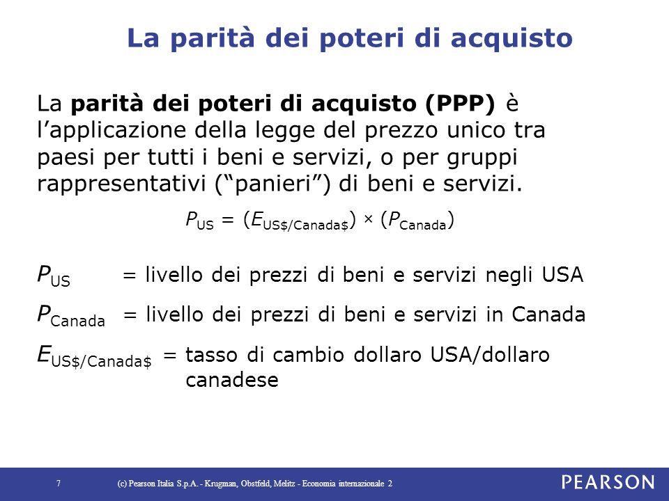 La parità dei poteri di acquisto La parità dei poteri di acquisto (PPP) è l'applicazione della legge del prezzo unico tra paesi per tutti i beni e servizi, o per gruppi rappresentativi ( panieri ) di beni e servizi.