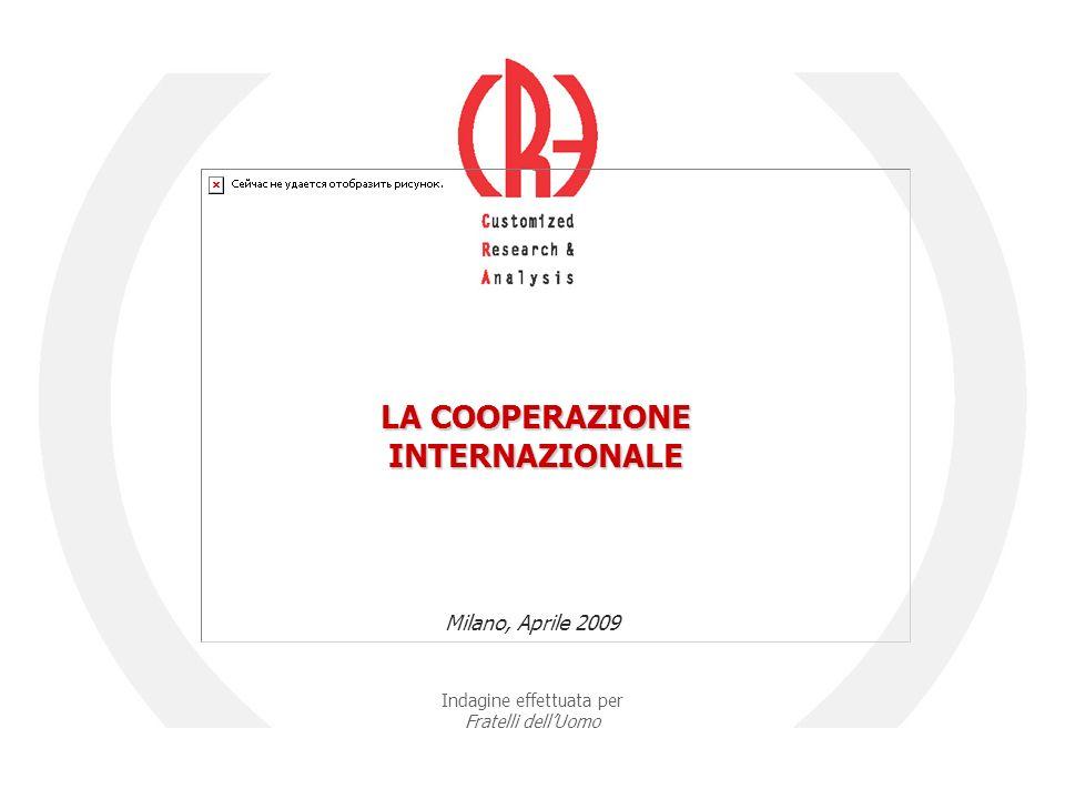 Indagine effettuata per Fratelli dell'Uomo Milano, Aprile 2009 LA COOPERAZIONE INTERNAZIONALE
