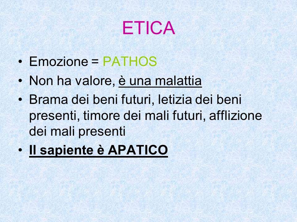 ETICA Emozione = PATHOS Non ha valore, è una malattia Brama dei beni futuri, letizia dei beni presenti, timore dei mali futuri, afflizione dei mali presenti Il sapiente è APATICO