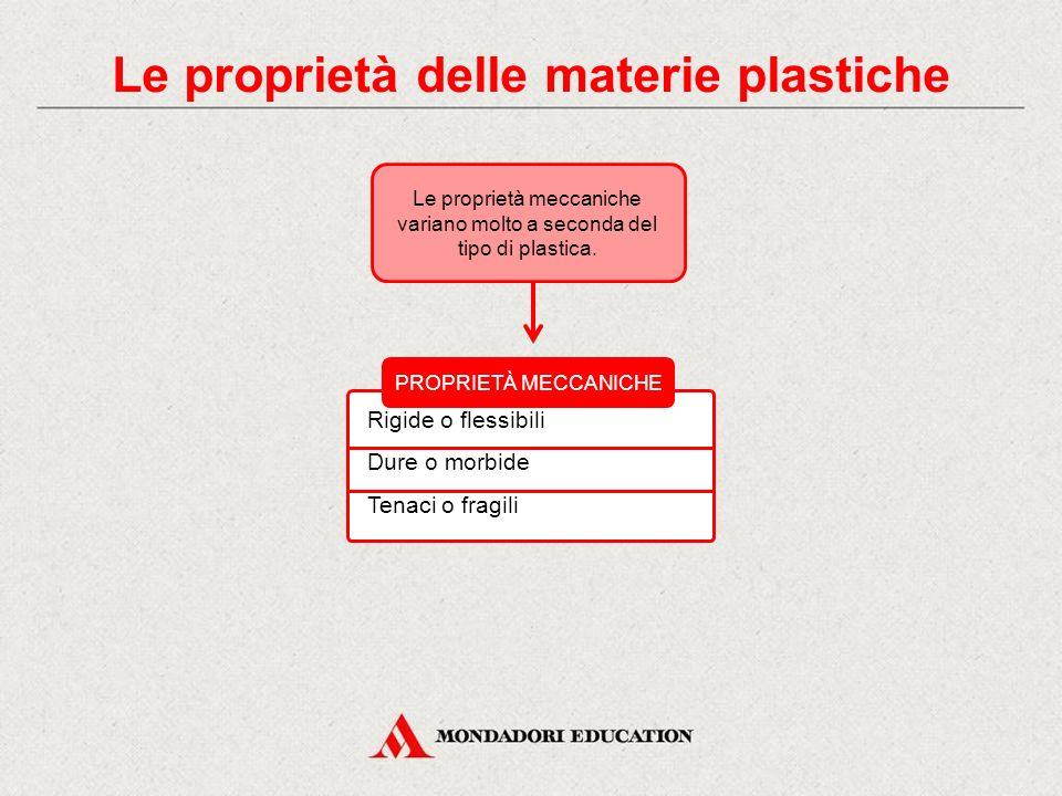 PROPRIETÀ MECCANICHE Le proprietà meccaniche variano molto a seconda del tipo di plastica. Rigide o flessibili Dure o morbide Tenaci o fragili Le prop