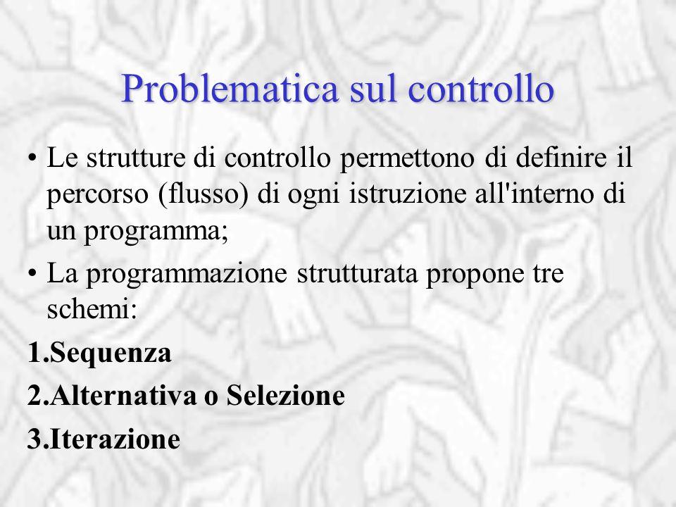 Problematica sul controllo Le strutture di controllo permettono di definire il percorso (flusso) di ogni istruzione all interno di un programma; La programmazione strutturata propone tre schemi: 1.Sequenza 2.Alternativa o Selezione 3.Iterazione