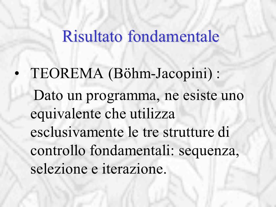 Risultato fondamentale TEOREMA (Böhm-Jacopini) : Dato un programma, ne esiste uno equivalente che utilizza esclusivamente le tre strutture di controllo fondamentali: sequenza, selezione e iterazione.