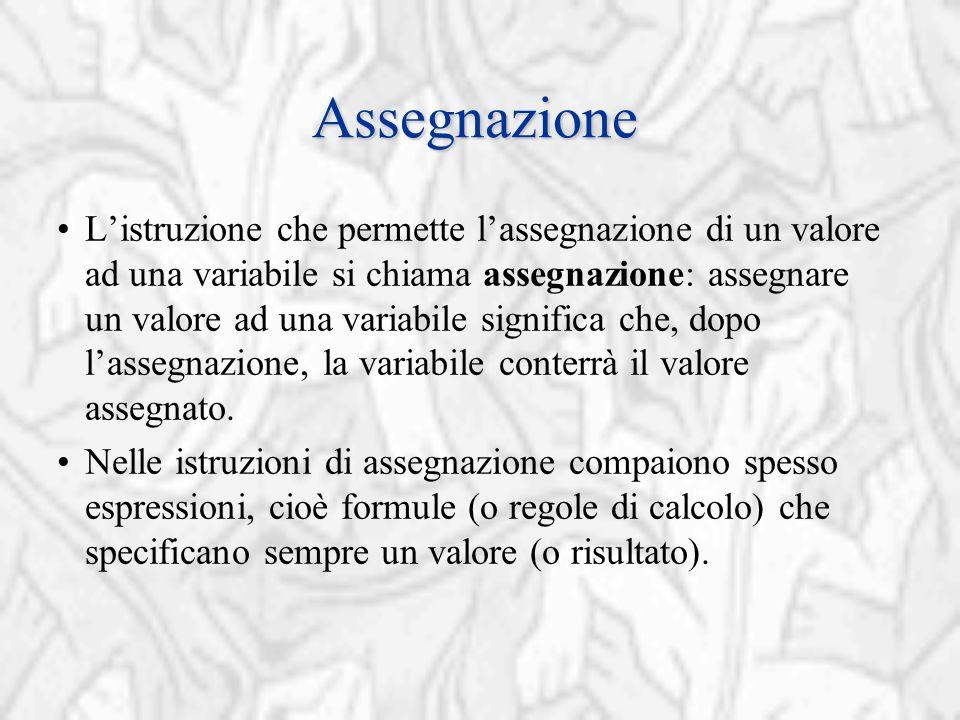 Assegnazione L'istruzione che permette l'assegnazione di un valore ad una variabile si chiama assegnazione: assegnare un valore ad una variabile significa che, dopo l'assegnazione, la variabile conterrà il valore assegnato.