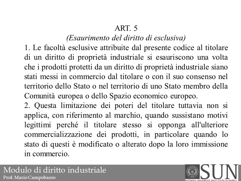 ART. 5 (Esaurimento del diritto di esclusiva) 1.