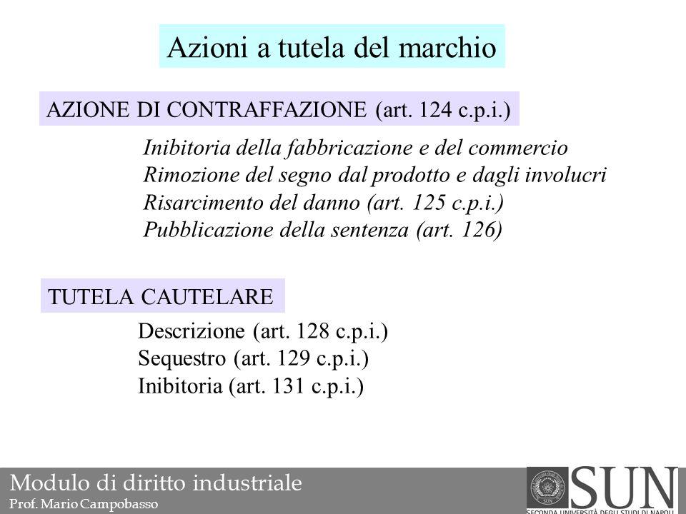 Azioni a tutela del marchio AZIONE DI CONTRAFFAZIONE (art.