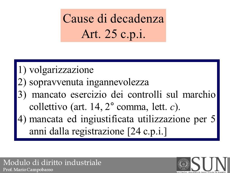 1)volgarizzazione 2)sopravvenuta ingannevolezza 3) mancato esercizio dei controlli sul marchio collettivo (art.