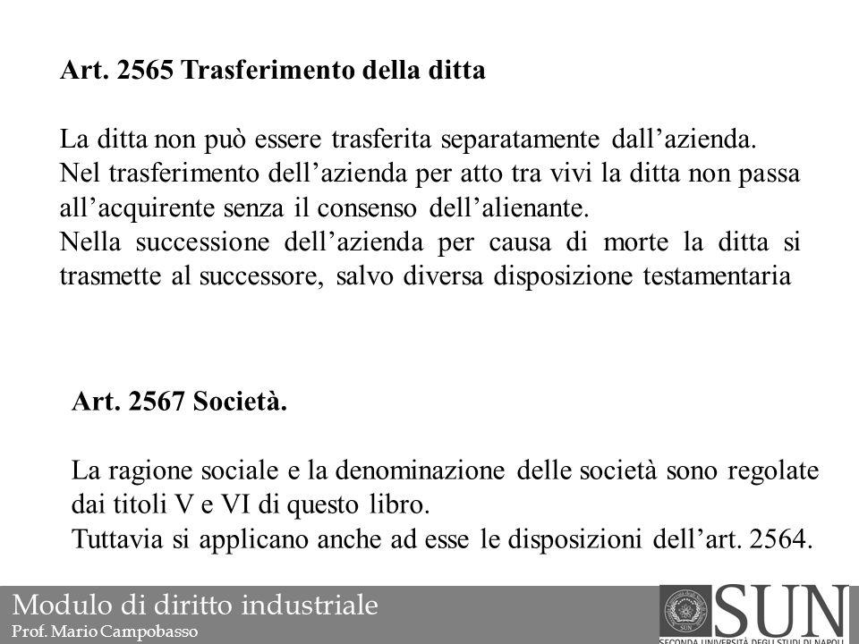 Art. 2565 Trasferimento della ditta La ditta non può essere trasferita separatamente dall'azienda.