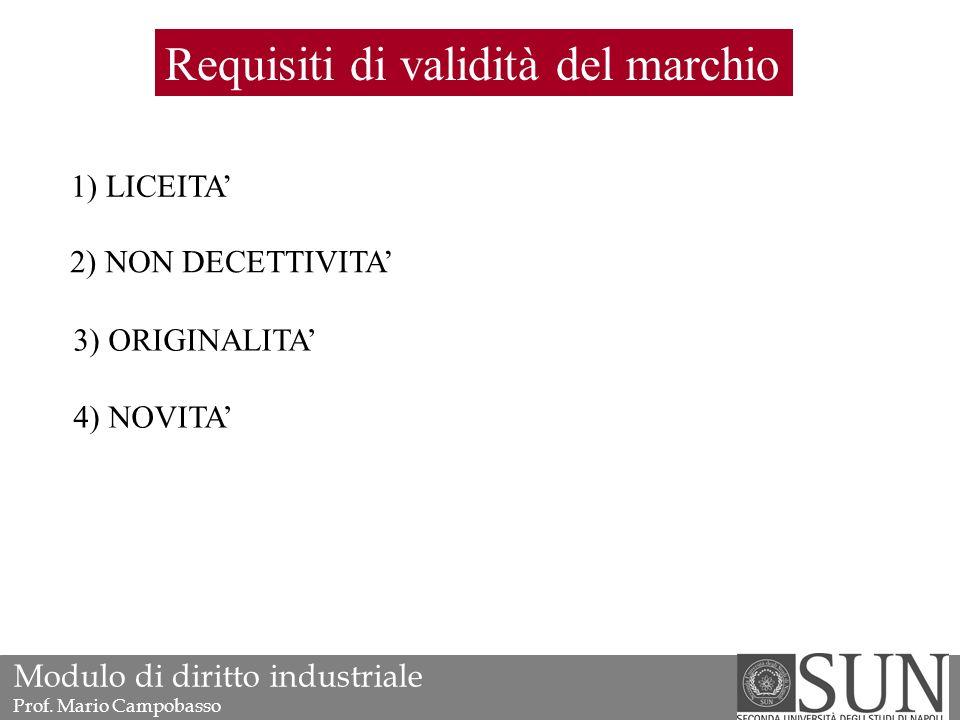 Requisiti di validità del marchio 1) LICEITA' 2) NON DECETTIVITA' 3) ORIGINALITA' 4) NOVITA' Modulo di diritto industriale Prof.