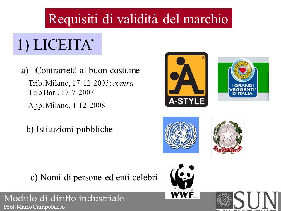 Requisiti di validità del marchio 1) LICEITA' a)Contrarietà al buon costume b) Istituzioni pubbliche c) Nomi di persone ed enti celebri Trib.