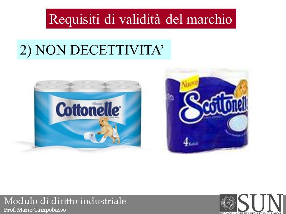 Requisiti di validità del marchio 2) NON DECETTIVITA' Modulo di diritto industriale Prof.