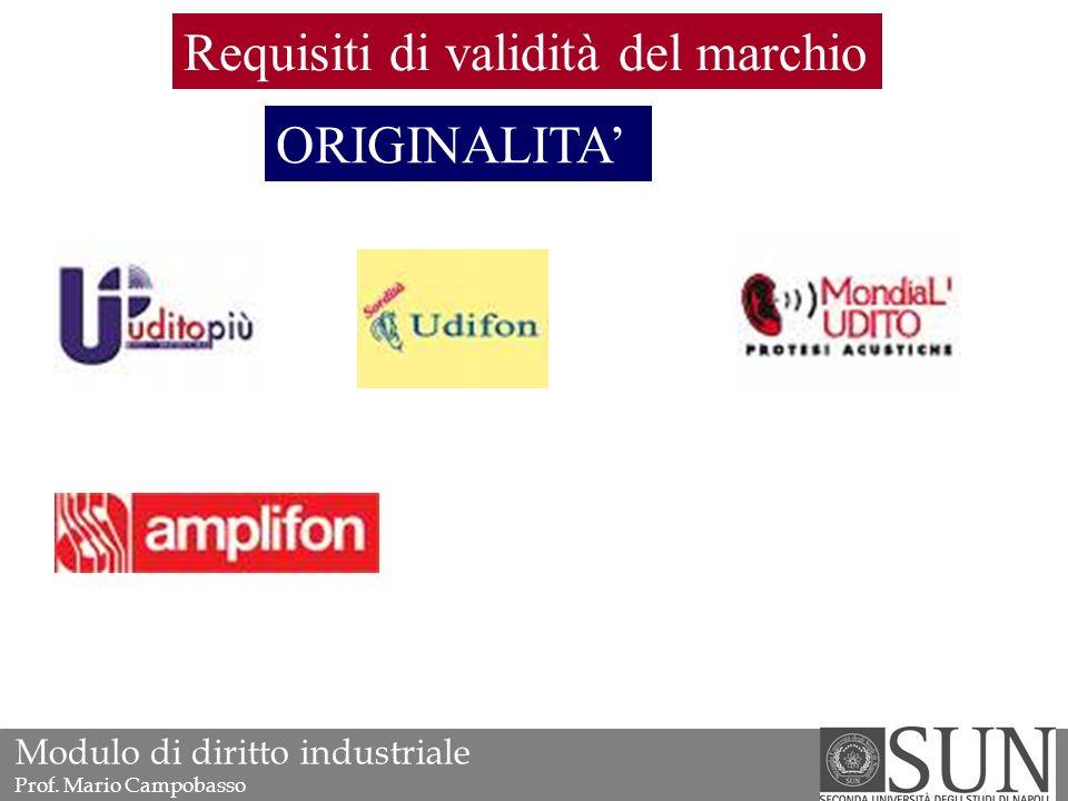 ORIGINALITA' Requisiti di validità del marchio Modulo di diritto industriale Prof. Mario Campobasso