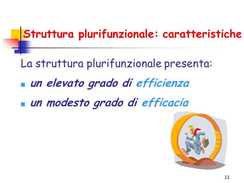 11 Struttura plurifunzionale: caratteristiche La struttura plurifunzionale presenta: un elevato grado di efficienza un modesto grado di efficacia