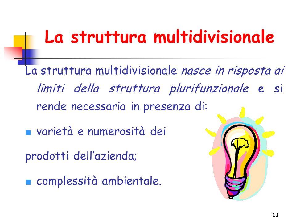 13 La struttura multidivisionale La struttura multidivisionale nasce in risposta ai limiti della struttura plurifunzionale e si rende necessaria in presenza di: varietà e numerosità dei prodotti dell'azienda; complessità ambientale.