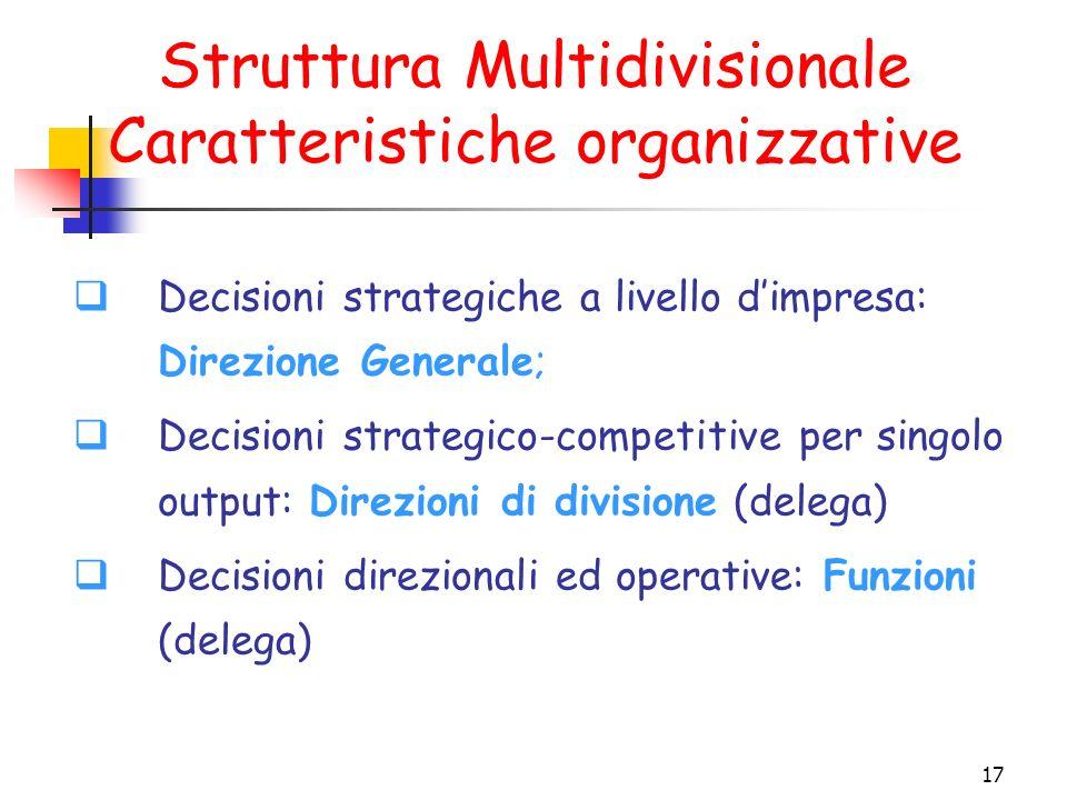 17 Struttura Multidivisionale Caratteristiche organizzative  Decisioni strategiche a livello d'impresa: Direzione Generale;  Decisioni strategico-competitive per singolo output: Direzioni di divisione (delega)  Decisioni direzionali ed operative: Funzioni (delega)