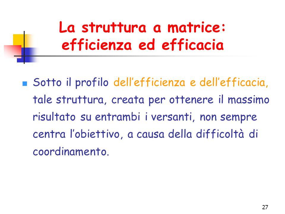 27 La struttura a matrice: efficienza ed efficacia Sotto il profilo dell'efficienza e dell'efficacia, tale struttura, creata per ottenere il massimo risultato su entrambi i versanti, non sempre centra l'obiettivo, a causa della difficoltà di coordinamento.