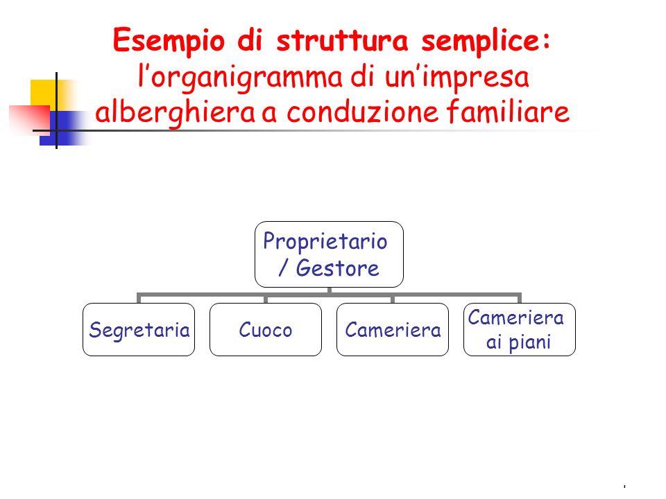 4 Esempio di struttura semplice: l'organigramma di un'impresa alberghiera a conduzione familiare Proprietario / Gestore SegretariaCuocoCameriera ai piani