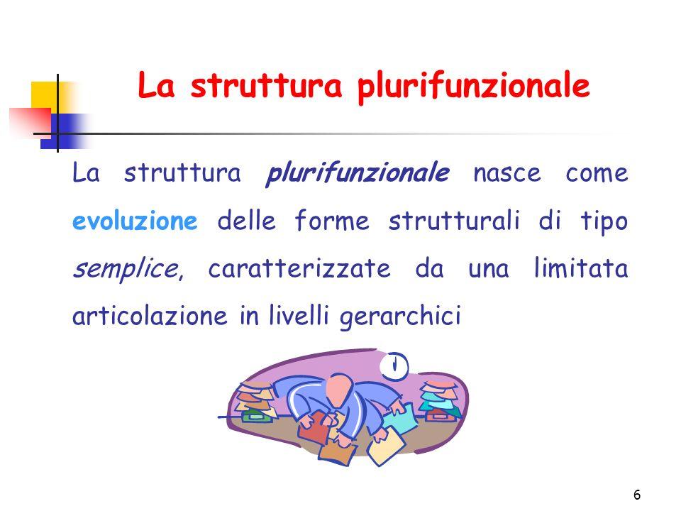 6 La struttura plurifunzionale La struttura plurifunzionale nasce come evoluzione delle forme strutturali di tipo semplice, caratterizzate da una limitata articolazione in livelli gerarchici