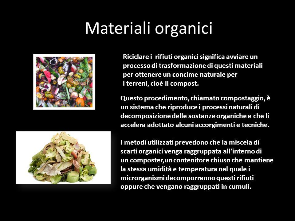 Materiali organici Riciclare i rifiuti organici significa avviare un processo di trasformazione di questi materiali per ottenere un concime naturale per i terreni, cioè il compost.