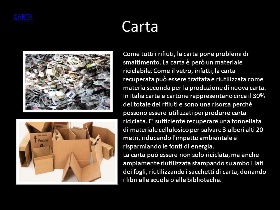 Carta Come tutti i rifiuti, la carta pone problemi di smaltimento.