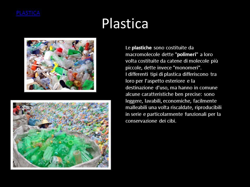 Plastica Le plastiche sono costituite da macromolecole dette polimeri a loro volta costituite da catene di molecole più piccole, dette invece monomeri .