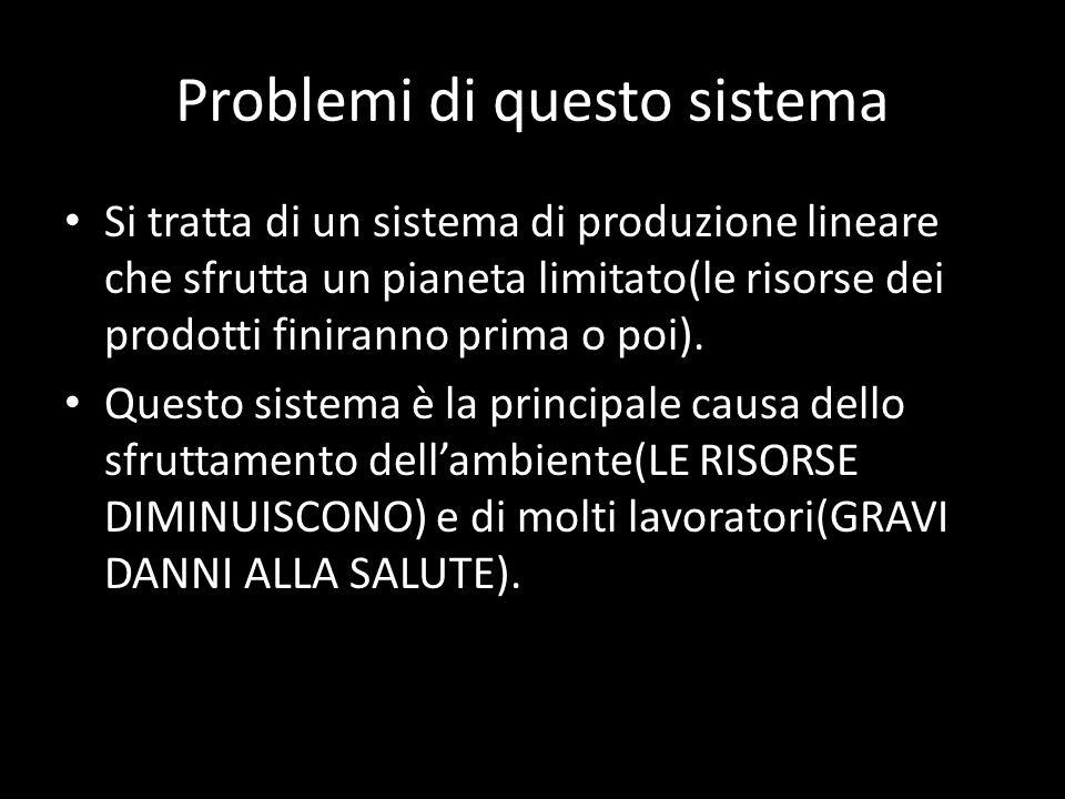 Problemi di questo sistema Si tratta di un sistema di produzione lineare che sfrutta un pianeta limitato(le risorse dei prodotti finiranno prima o poi).