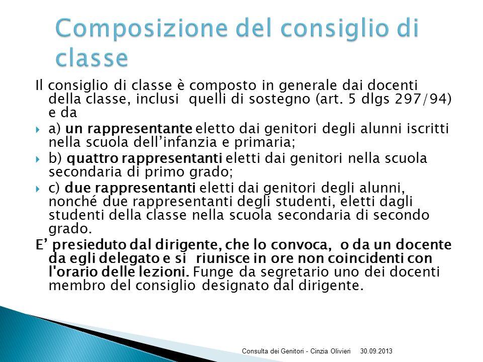 Il consiglio di classe è composto in generale dai docenti della classe, inclusi quelli di sostegno (art.